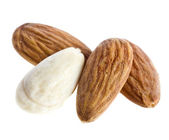 Almond salted isolated on a white — Stock Photo