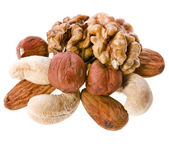 Mix nuts isolated on white background — Stock Photo