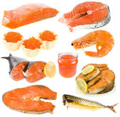 Collection of seafood, red fish, red caviar over white background — Stock Photo