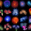 Collection of beautiful fireworks on black background — Stock Photo