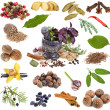 Spices and aromatic herbs over white background — Stock Photo