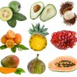 Collection ripe exotic fresh fruits isolated on white — Stock Photo