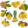 Yellow sweet fruits collection isolated on white — Stock Photo