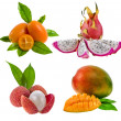 Kumquat, pitahaya dragon, litchi, mango - fresh exotic tropical fruits isolated on white — Stock Photo