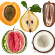 Collection of halves fruits: apricot, quince, date, watermelon, coconut isolated on white — Stock Photo