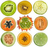 Collection of halves fruits — Stock Photo