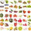 Set of fruits and vegetables isolated on white background — Stock Photo