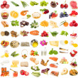 Stock Photo: A large collection of food, fruit, berries vegetables