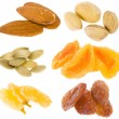 Nuts and dried fruits collection isolated on white — Stock Photo