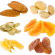 Nuts and dried fruits collection isolated on white — Stock Photo #14458263