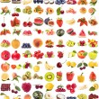 Collection of fresh juicy fruits and berries on white background — Stock Photo #14458331