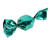 Candy in green wrapper isolated on white background — Stock Photo