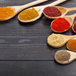 Powder spices on wooden spoons - Stock fotografie