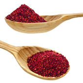 Sumac powder spices on spoons isolated on a white background — Stock Photo