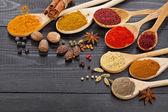Pulver kryddor på skedar i trä bakgrund — Stockfoto