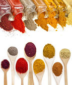 Border frame of colorful powder spices with copy space for text isolated on a white background — Stock Photo