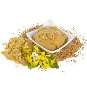 Salsa de mostaza plato y polvo, semillas de mostaza flor florecen en blanco — Foto de Stock