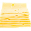 Cheese pieces isolated on white background - Stock Photo