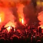jubelnden Menge bei Konzert, Musiker auf der Bühne — Stockfoto #14476673