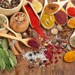Powder spices on spoons in wooden background — Stock Photo #14481233