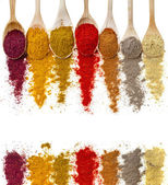 Assortment of powder spices on spoons isolated on a white background — Stock Photo