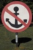 No anchorage sign — Stock Photo