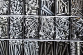 Toolbox, Box for metal bolt, nut, screw, nail — Stock Photo
