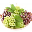 Stock Photo: Grape with leaves, isolated
