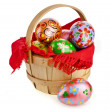Royalty-Free Stock Photo: Painted colorful easter eggs in wooden basket