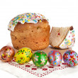 Easter cake with colorful easter egg — Stock Photo