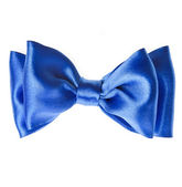 Blue ribbon bow tie isolated on white background — Stock Photo