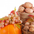 Autumn fruits and nuts background isolated on white — Stock Photo #14935419