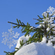 Fir branches in the snowdrift with Christmas snowflake against the blue sky — Stock Photo #14936323