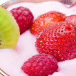 Dessert with strawberry, raspberry - Stock Photo
