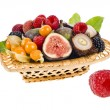 Multifruit in the basket isolated on white — Stock Photo