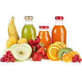 Mixed from many fresh fruits and juices in glasses on white — Stock Photo