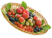 Ripe berries in basket isolated — Stock Photo