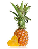 Pineapple with slices heart isolated on white background — ストック写真