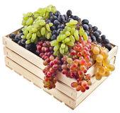 Raisins mixtes colorés dans une boîte en bois de caisse isolé sur fond blanc — Photo