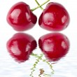 Two cherries tied together in a heart — Stock Photo #15409283