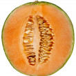 Orange cantaloupe melon isolated on white — Stock Photo
