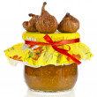 Fig jam in glass on white background — Stock Photo