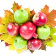 Apple and pomegranate on the autumn leaves - Stock Photo