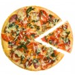 Pizza with the cut off slice isolated on white — Stock Photo
