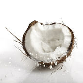 Cracking cocco con spruzzi di latte — Foto Stock