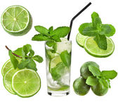 Cocktail mojito with mint leaf and lime slices isolated on white background — Stock Photo