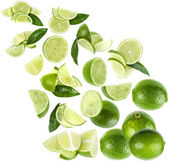 Slices green lime isolated on white background — Stock Photo