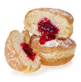Donut with jam on white background — Stock Photo