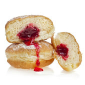Donut with jam on white background — Stock Photo