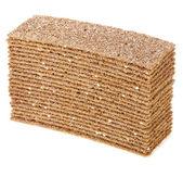 Crispbread stack isolated on white background — Stock Photo
